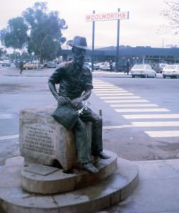 Patrick Hannan's statue doubles as a bubbler in Hannan Street, Kalgoorlie, Western Australia